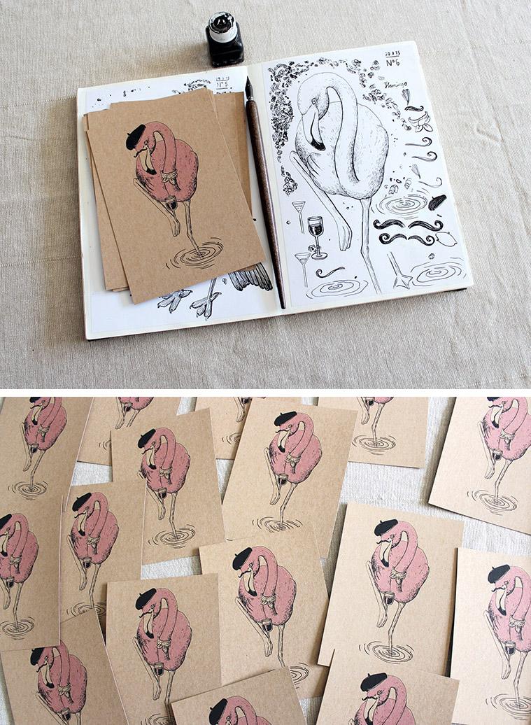 Sketchbook flamingo Carrier Bird